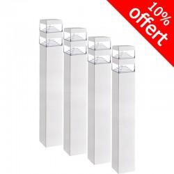 Pack de 4 bornes Pyramide Inox 32 LED SMD 9W Finition blanche 60 cm
