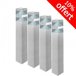 Pack de 4 bornes Pyramide Inox 32 LED SMD 9W Finition Inox 60 cm