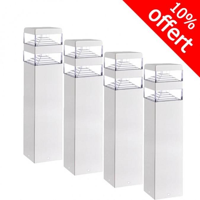 Pack de 5 bornes Pyramide Inox 32 LED SMD 9W Finition blanche 40 cm