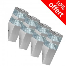 Pack de 5 applique Pyramide Inox 32 LED SMD 9W finition blanche