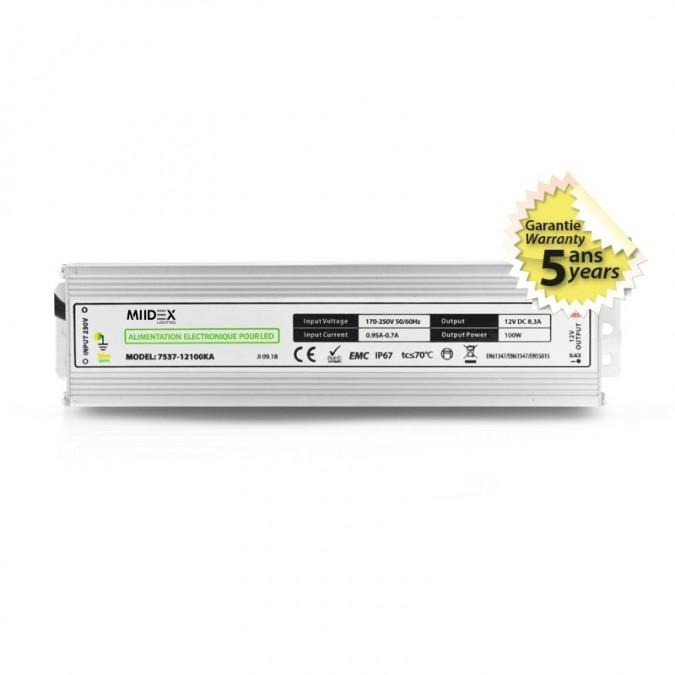 Transformateur LED 100W 12 Volts DC IP67