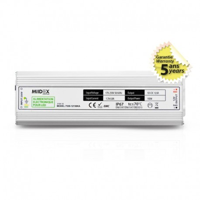 Transformateur LED 150W 12 Volts DC IP67