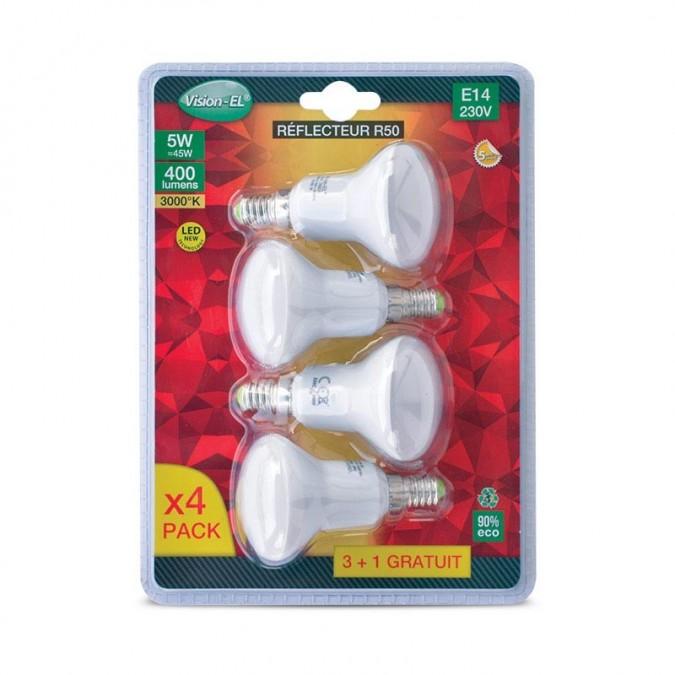 Lot de 4 ampoules LED E14 5W Spot R50