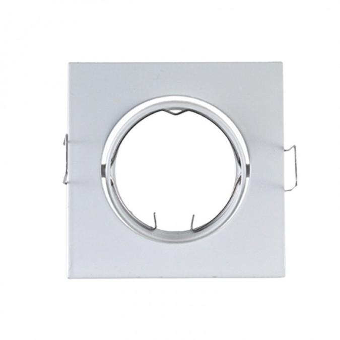 Support de spot Carré Orientable Acier Blanc 84x84mm