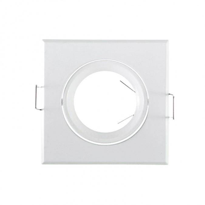 Support de spot Carré Orientable Acier Blanc 84x84mm à lamelle