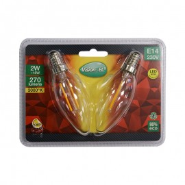 Lot de 2 Ampoules LED E14 2W COB Filament Flamme