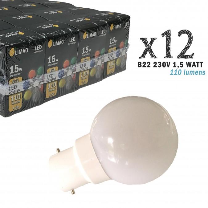 Lot de 12 ampoules LED B22 1W Blanc Froid Incassables (équivalence 15W) pour Guirlande Extérieure