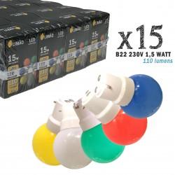 Lot de 15 ampoules LED B22 1,5W Rouge, Bleu, Verte, Jaune et Blanc chaud (équivalence 15W) pour Guirlande Extérieure