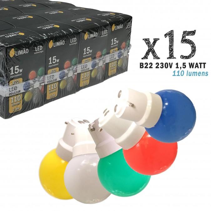 Lot de 15 ampoules LED B22 1W Rouge, Bleu, Verte, Jaune et Blanc Chaud Incassables (équivalence 15W) pour Guirlande Extérieure