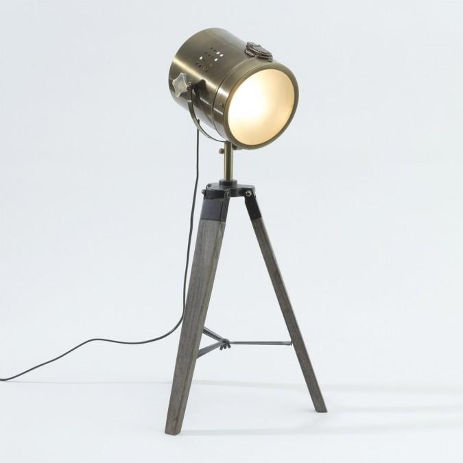 Lampe bronze EBOR en métal et bois. | Boutique Officielle