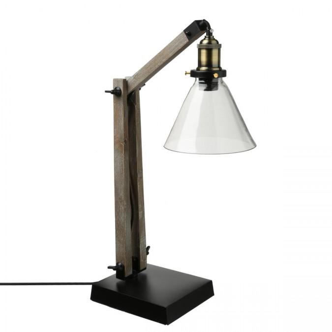 Lampe ALAK en bois/métal & abat-jour en verre H59