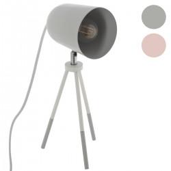 Lampe à poser avec trépied rose et blanc