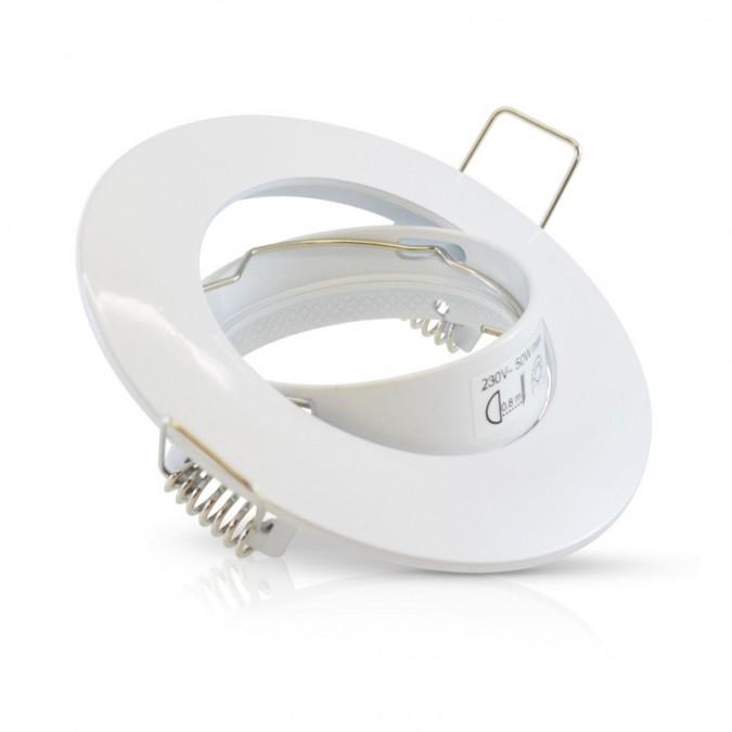 Support de spot Rond Orientable Acier Blanc Ø92mm