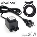 Alimentation électronique LED 36W Etanche IP67 12V + 2M de câble 12V