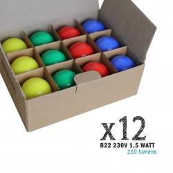 Lot de 12 ampoules LED B22 1W Rouges, Bleues, Vertes et Jaunes Incassables (équivalence 15W) pour Guirlande Extérieure