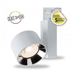SPOT LED SUR RAIL AVEC ADAPTATEUR 3 ALLUMAGES BLANC 10W