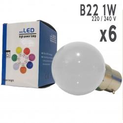 Lot de 6 ampoules LED B22 1W Blanc Chaud Incassables (équivalence 15W) pour Guirlande Extérieure