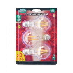 Lot de 3 Ampoules LED E27 8W COB Filament Bulb