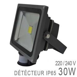 Projecteur LED COB 30W Extérieur IP65 Gris + Détecteur